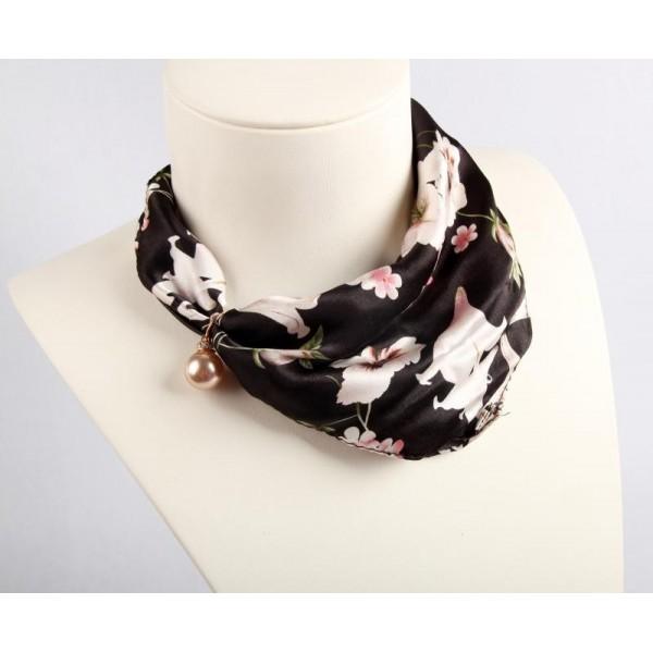 Collier en soie - Floral noir