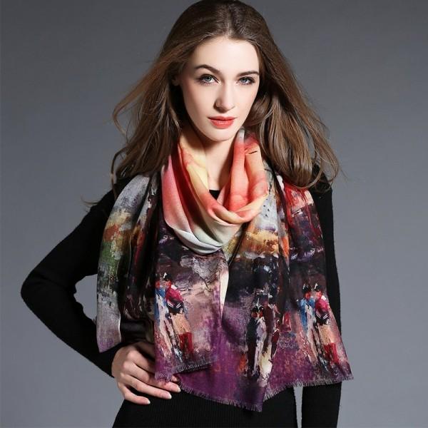 Echarpe 100% laine imprimé digital - ton violet - Au Nom de la Soie