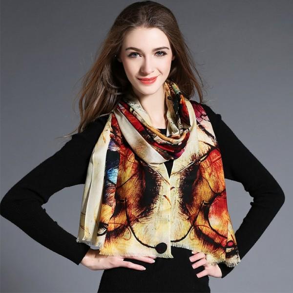 Echarpe 100% laine imprimé digital - ton marron - Au Nom de la Soie