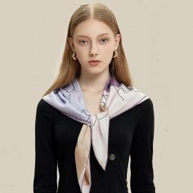 Foulard en soie Premium Portrait parme