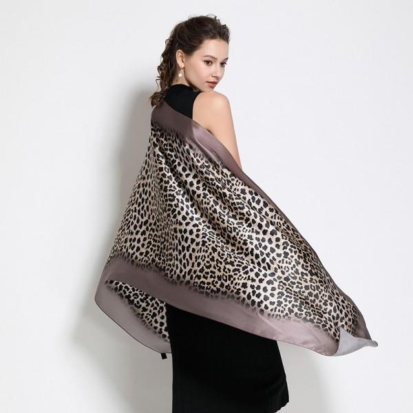 Écharpe en soie Léopard brun