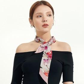 Foulard bandeau soie Flora rose