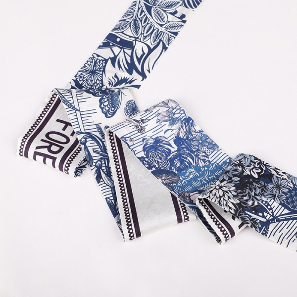 Foulard bandeau soie Royaume bleu