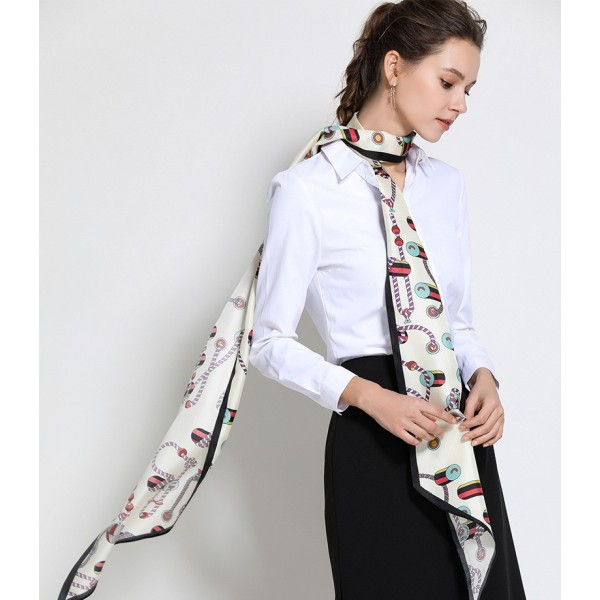 Foulard ceinture Fantasia blanc beige