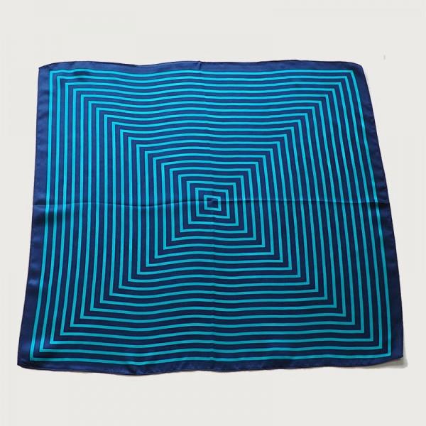 Petit foulard soie Ondes bleu