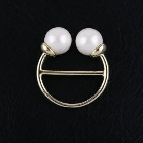 Anneau de foulard Double Perles - Or