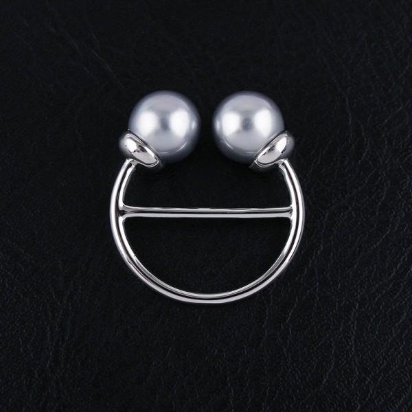 Anneau de foulard Double Perles - Or Blanc