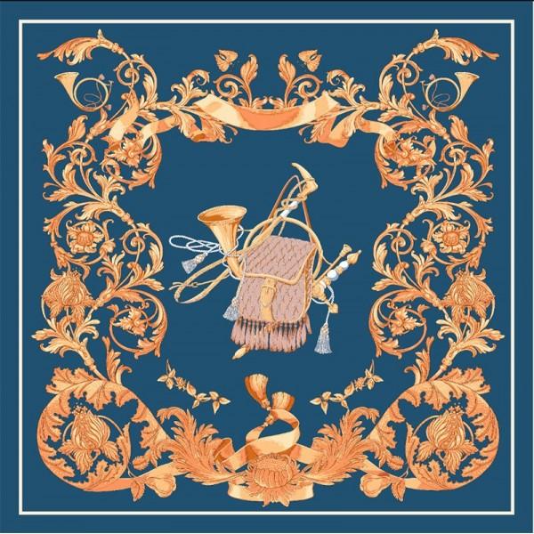 Foulard en Soie Femme Bleu Minéral 90cm ★ Nomade