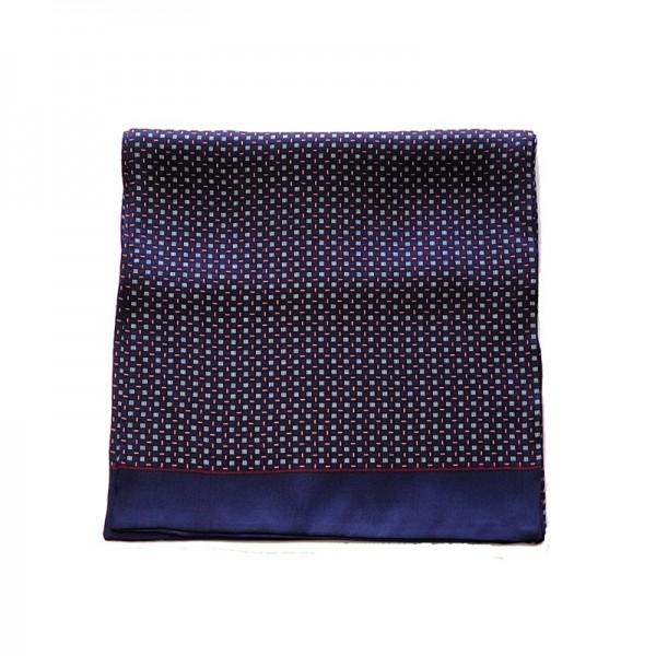Echarpe homme en soie carreaux - bleu nuit