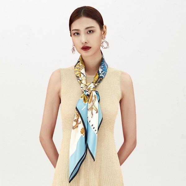 Foulard en Soie Femme Bleu 110cm ★ Lagon