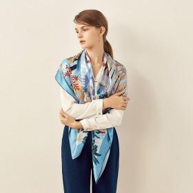 Grand Foulard en Soie Femme Bleu ★ Patio