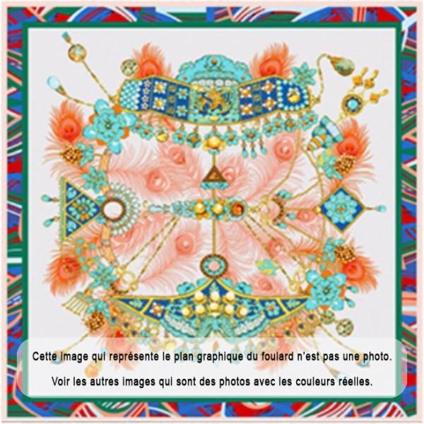 Grand Foulard en Soie Femme Vert Corail ★ Trésor