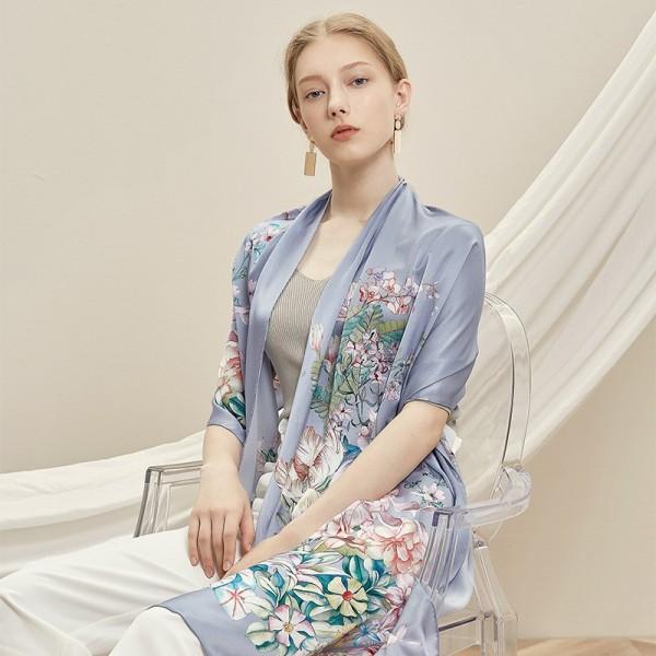 Écharpe en Soie Femme Bleu Lavande ★ Clarisse