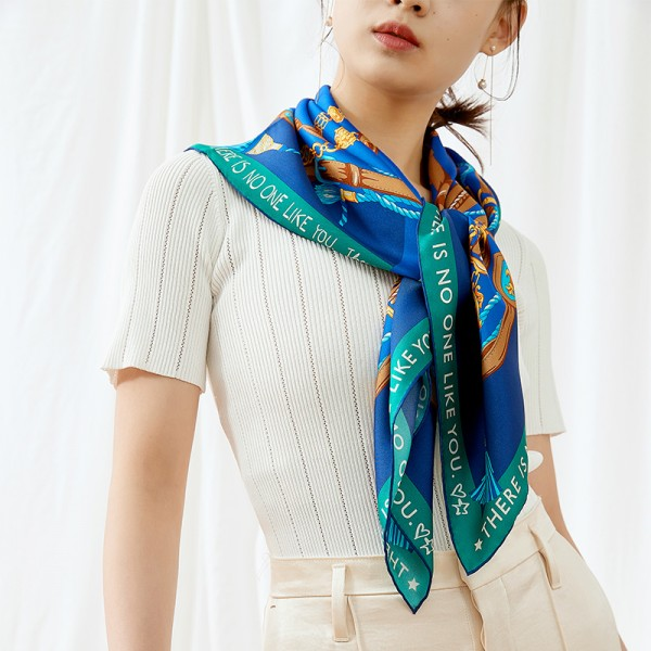 Foulard en Soie Femme Bleu Vert ★ Victoria