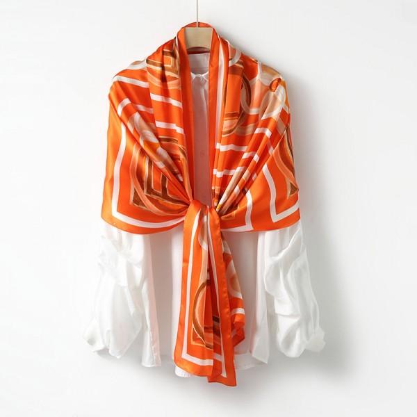 Echarpe en Soie Femme Orange ★ Elsa