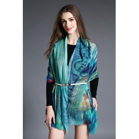 Echarpe 100% laine imprimé digital - ton bleu