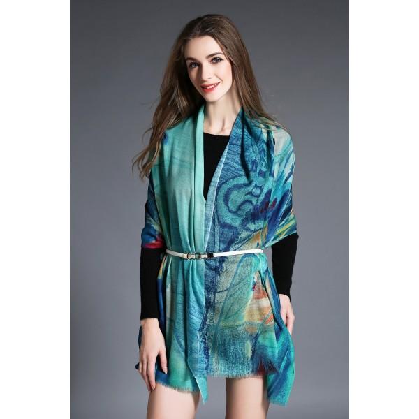 Echarpe 100% laine imprimé digital - ton bleu -Au Nom de la Soie
