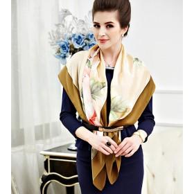 Châle en soie premium édition fleurie - bronze