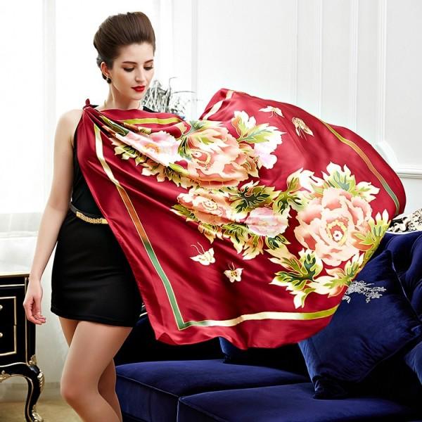 Châle en soie premium édition fleurie - rouge - Au Nom de la Soie